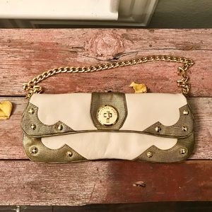 Michael Kors leather studded embossed chain clutch